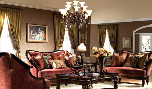 Red-Sofa-Of-Victorian-Style-for-Living-Room-Designs